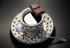 Coffee with chocolate. Dark background Stock Photo