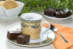 Coffee with chocolate Stock Images