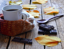 Coffee, chocolate, autumn leaves. Stock Photo