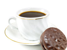 Coffee and Chocolate Biscuit Stock Images