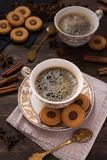 Coffee with chocolate biscuits and cinnamon Stock Photography