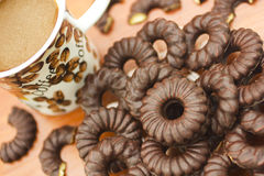 Coffee and chocolate biscuits Royalty Free Stock Image