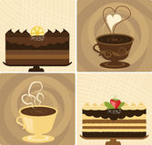 Coffee & Chocolate Cake. Coffee Cup with Delicious Chocolate Holiday Cake Royalty Free Stock Photos