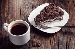 Coffee and chocolate cake Stock Images