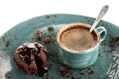 Coffee and chocolate cake muffin Royalty Free Stock Images