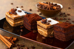 Coffee and chocolate cakes stock photos