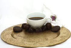 Coffee Chocolate Candy on White Royalty Free Stock Photography