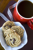 Coffee with chocolate chip cookies Stock Images