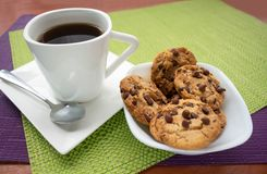 Coffee with chocolate chip cookies royalty free stock photo