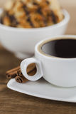 Coffee and chocolate chips cookies Royalty Free Stock Images