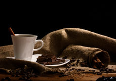 Coffee with  chocolate and cinnamon Royalty Free Stock Images