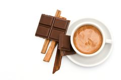 Coffee, chocolate and cinnamon Royalty Free Stock Images