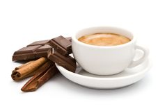 Coffee, chocolate and cinnamon Stock Photos