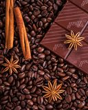 Coffee, Chocolate, Cinnamon, Anise Royalty Free Stock Photography