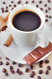 Coffee with chocolate and cinnamon stock image
