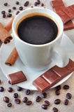 Coffee with chocolate and cinnamon Royalty Free Stock Photo