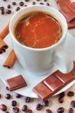 Coffee with chocolate and cinnamon Stock Photography