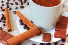 Coffee with chocolate and cinnamon Royalty Free Stock Photography