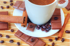 Coffee with chocolate and cinnamon stock photos