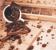 Coffee and chocolate with cinnamon in cup Stock Photography