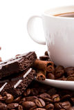Coffee, chocolate and cinnamon sticks Royalty Free Stock Photography