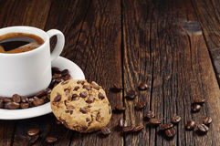 Coffee with chocolate cookie Stock Images