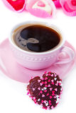 Coffee and chocolate cookie Stock Photography