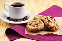 Coffee and chocolate cookies Stock Photography