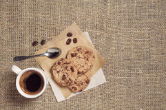 Coffee and chocolate cookies Royalty Free Stock Photos