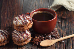 Coffee and chocolate cookies Royalty Free Stock Photo