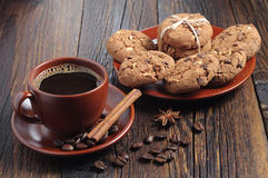 Coffee and chocolate cookies Stock Images