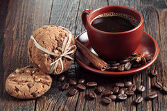 Coffee and chocolate cookies Royalty Free Stock Photography