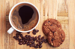Coffee and chocolate cookies Royalty Free Stock Image