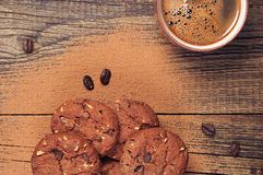 Coffee and chocolate cookies Stock Photos