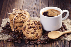 Coffee and chocolate cookies Stock Image