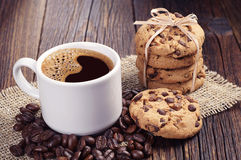 Coffee and chocolate cookies Stock Photo