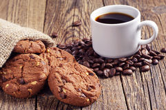 Coffee and chocolate cookies Stock Photos