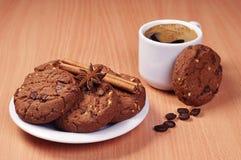 Coffee and chocolate cookies Stock Photo