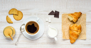 Coffee, Chocolate and Croissant Stock Photography