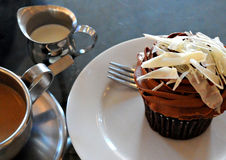 Coffee and chocolate cupcake Stock Photos