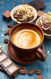 Coffee with chocolate and cupcake Stock Photo