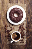 Coffee and chocolate donut Royalty Free Stock Photo