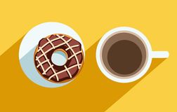 Coffee and a chocolate doughnut, colour illustrations. Royalty Free Stock Image