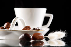 Coffee and chocolate drops Stock Photography