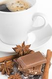 Coffee with chocolate and dry breakfast Royalty Free Stock Photo