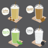 Coffee Chocolate Green Tea Cookie Cream Smoothie Cartoon Vector Stock Photography
