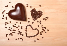 Coffee and chocolate hearts Stock Images