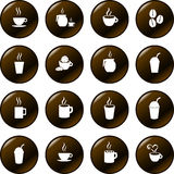 Coffee chocolate and hot beverages drinks vector. Vector brown buttons with white symbols or silhouettes of hot beverages and drinks, including coffee, chocolate Stock Photography
