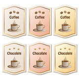 Coffee and chocolate labels Royalty Free Stock Photos