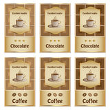 Coffee and chocolate labels Stock Photography